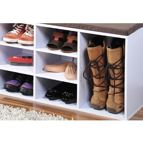 Skoreol i hvid med hynde 10 hylder for Muebles para zapatos moderno